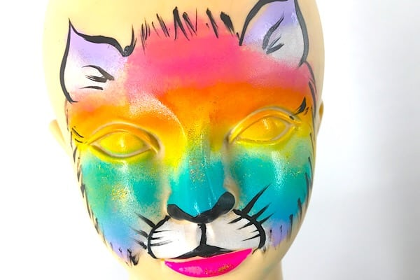 How to face paint a rainbow kitty – Rainbow kitty cat face painting tutorial step by step