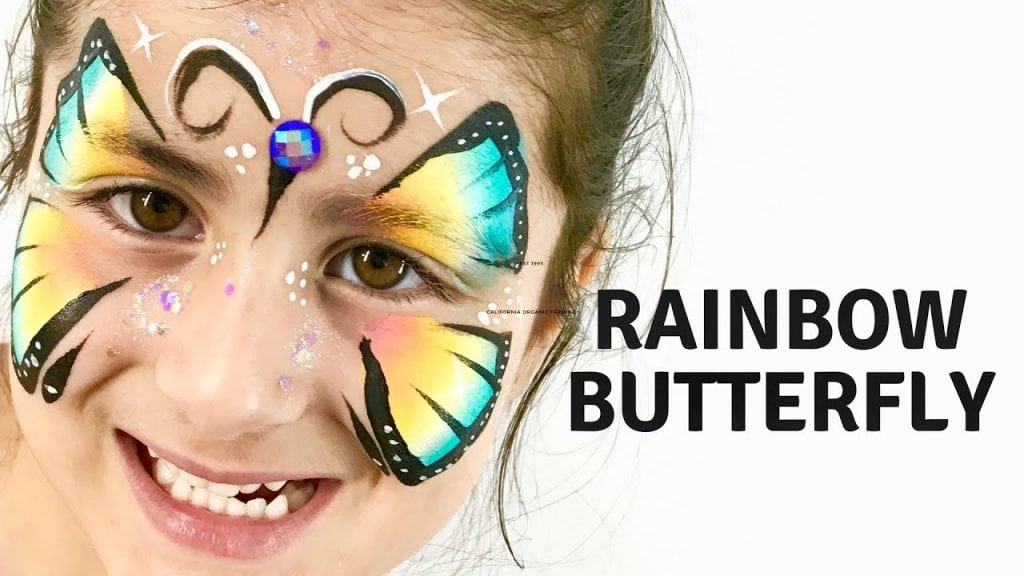 Rainbow Butterfly Face Paint How to Face Paint a Rainbow Butterfly