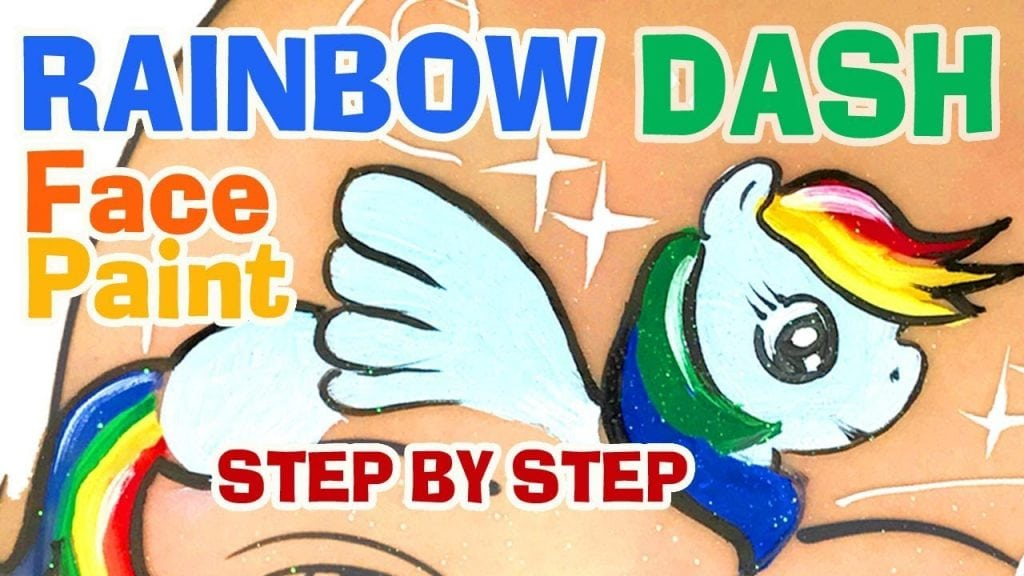 Rainbow Dash My Little Pony Face Painting Tutorial How to Face Paint Rainbow Dash
