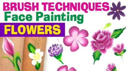 How to face paint flowers easily – Brush techniques for face painting Flowers